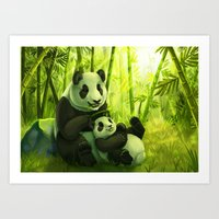 pandas Art Prints featuring Pandas by Keshi