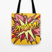 comic book Tote Bags featuring Comic Book ZOOM! by Thisisnotme