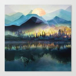 Mountain Lake Under Sunrise Canvas Print