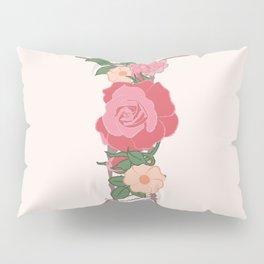 """Rose Gold Floral Letter """"I"""" Pillow Sham"""