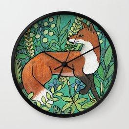 Fox in a meadow Wall Clock