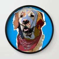 golden retriever Wall Clocks featuring Golden Retriever  by TiannaHarman
