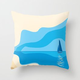 yacht in the sea Throw Pillow