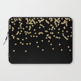 Sparkling gold glitter confetti on black - Luxury design Laptop Sleeve