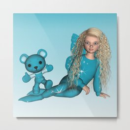 Little Girl Twinkle Star Fairy and Baby Bear Metal Print