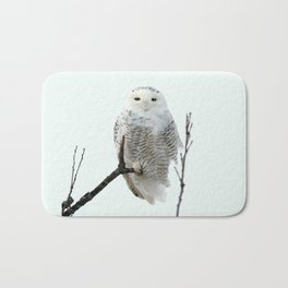 Snowy in the Wind (Snowy Owl 2) Bath Mat