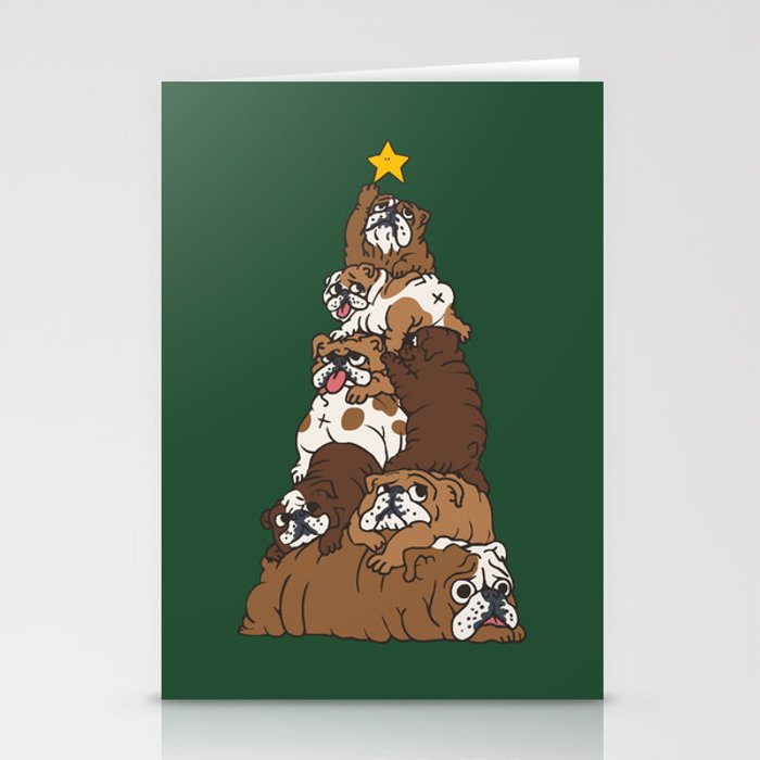 Christmas Tree English Bulldog Stationery Cards by huebucket | Society6