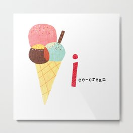 I is for Ice-Cream Metal Print