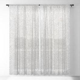 Modern Faux Silver Glitter Trendy Girly Elegant Luxury Sheer Curtain