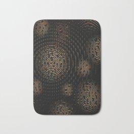 Dark and Orange Circle Weave Pattern Bath Mat