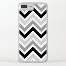 Chevron Stripes : Black Gray White Clear iPhone Case