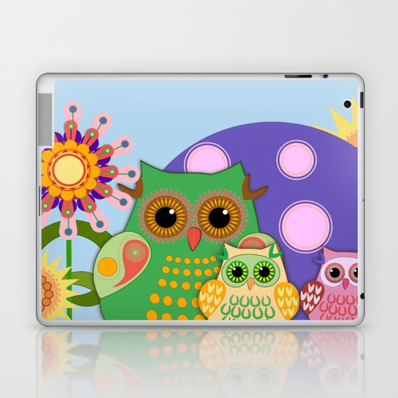 Owls, Flowers Fantasy design Laptop & iPad Skin