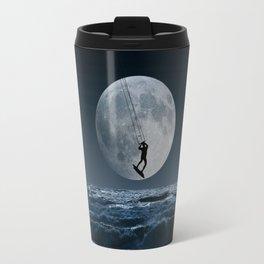 Kitesurfer in the moonin  blue night sky horizon Travel Mug