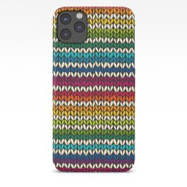 Rainbow knitted stripes iPhone Case