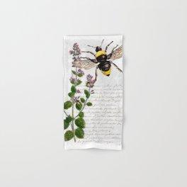 Cottage Style Thyme, Bumble Bee, Hummingbird, Herbal Botanical Illustration Hand & Bath Towel