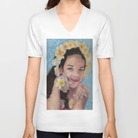 child V-neck T-shirts featuring child by Caterina Zamai