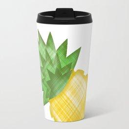 Emoji pineapple in plaid Travel Mug