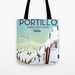 Portillo Ski Chile Ski travel poster. Tote Bag