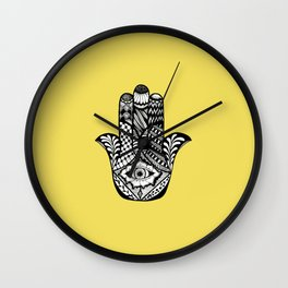 Hand Drawn Hamsa Hand of Fatima on Yellow Wall Clock