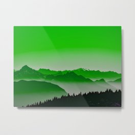 Rise above the mist. Green Metal Print