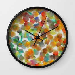 Colorful paint brushes on a white background Wall Clock