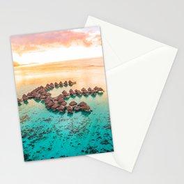 Bora bora Tahiti honeymoon beach resort vacation Stationery Cards
