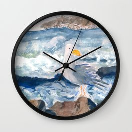 A Watercolor Seagull Named Fred (on Second Cliff in Scituate) Wall Clock
