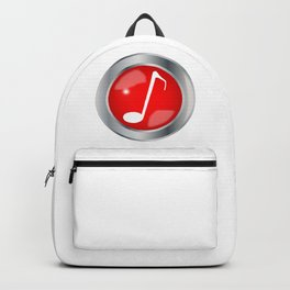 Red Musical Note Button Backpack