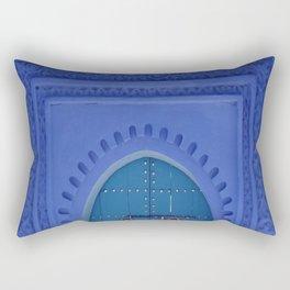 Islamic Architecture Blue Turquoise Secret Doorway Beautiful Engravings Rectangular Pillow