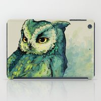 harry iPad Cases featuring Green Owl by Teagan White