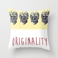 skulls Throw Pillows featuring Skulls  by SofRusso