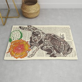 Jumpin' Jack Flash  (jack rabbit and cactus flower on dictionary page) Rug