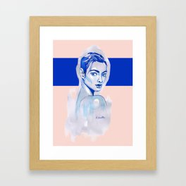 Blue and pink portrait Framed Art Print