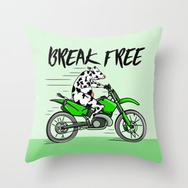 Cow riding a motorbike Throw Pillow