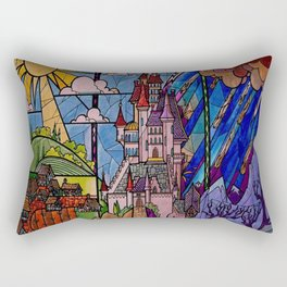Castle Stained Glass Rectangular Pillow