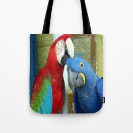Red and Blue Macaws Crackle Print Tote Bag