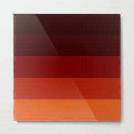 Orange Ombre Stripes Metal Print