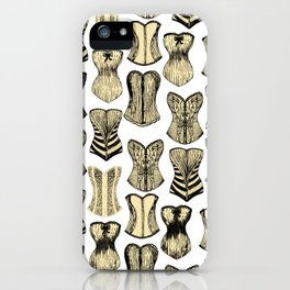 Vintage Sexy Cream and Black Girly Corsets Pattern iPhone Case