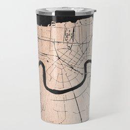 New Orleans Rose Gold and Black Map Travel Mug