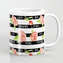 Fruit of the spirit - stripes with peonies Coffee Mug