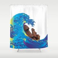 hokusai Shower Curtains featuring Hokusai Rainbow & Moai by FACTORIE