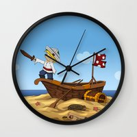 pirate ship Wall Clocks featuring Pirate by TubaTOPAL