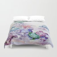 turtles Duvet Covers featuring Baby Turtles by House of Mina