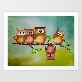 Owl crashed Art Print