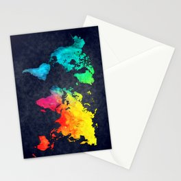 World map watercolor 6 Stationery Cards