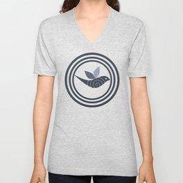 bird and circles Unisex V-Neck