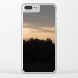 Sunset on nature forest and fields at dusk Clear iPhone Case
