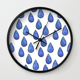 Watercolor raindrops Wall Clock