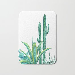 cactus jungle watercolor painting 2 Bath Mat