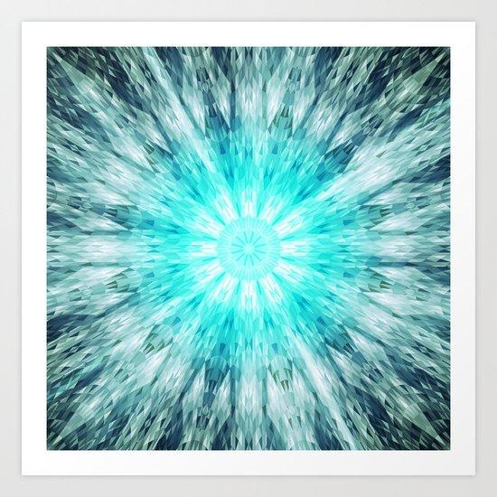 Teal Blue Mandala Art Print